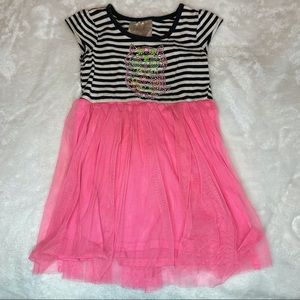 Beautees Jewel Owl Striped Top and Tulle Bottom 4T